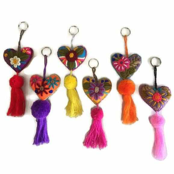 Rapture Embroidered Heart Key Chain / Zipper Pull - Mexico-Shop All-Lumily Fair Trade
