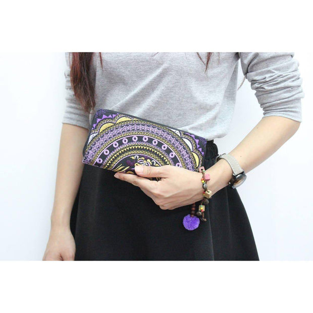 Rising Moon Embroidered Wallet - Thailand-Bags-Lumily Fair Trade