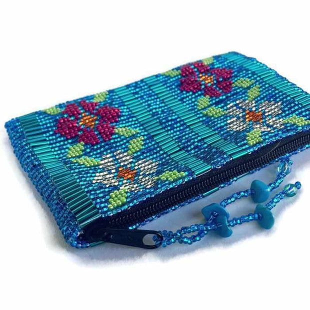Small Flowers Beaded Coin Purse - Guatemala-Shop All-Lumily Fair Trade