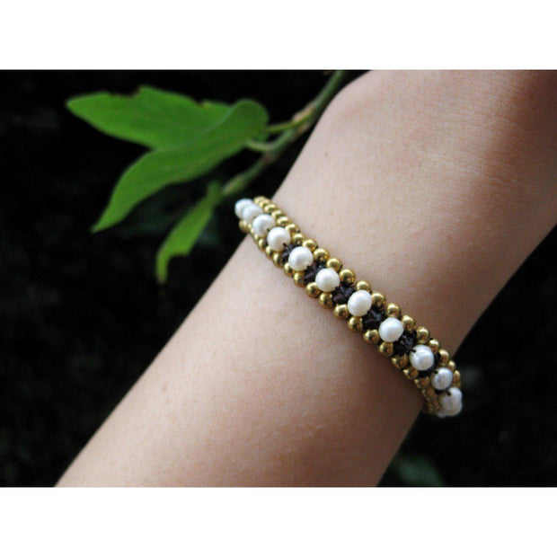 Stackable Bracelet with Brass Beads - Thailand-Shop All-Lumily Fair Trade