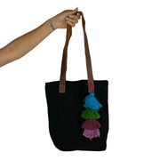 Stardust Woven Tassel Tote - Guatemala-Shop All-Lumily