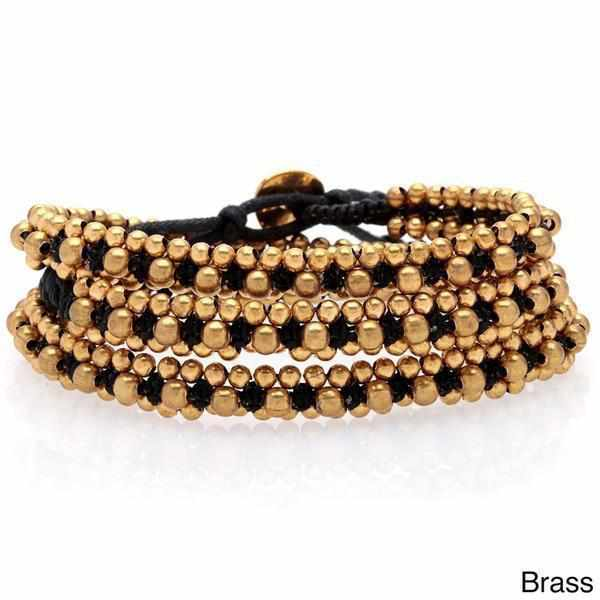 Stone and Brass Beads Three Wrap Bracelet - Thailand-Shop All-Lumily Fair Trade