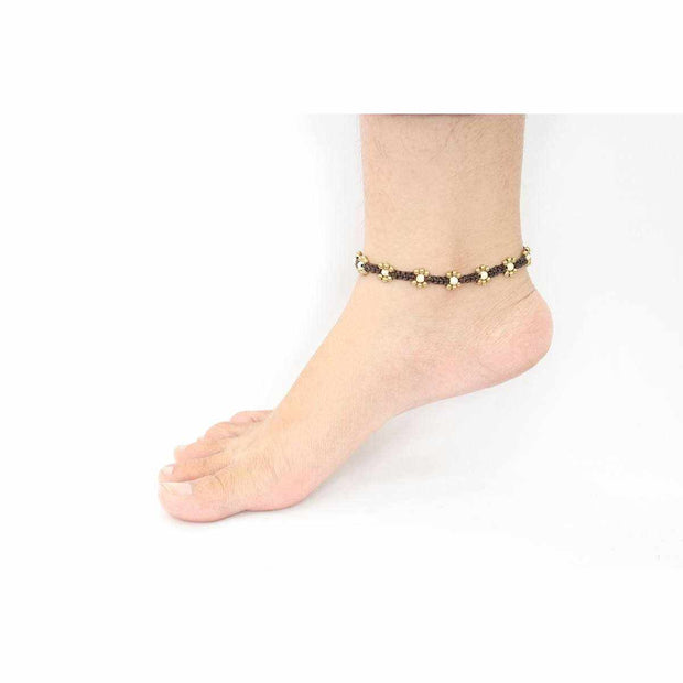 Stones Brass Flower With Bells Anklet - Thailand-Shop All-Lumily