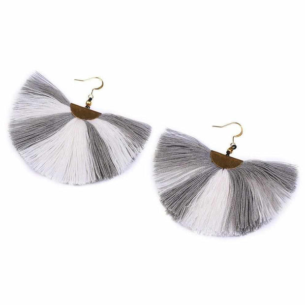 Striped Cleo Tassel Earrings - Thailand-Jewelry-Lumily Fair Trade