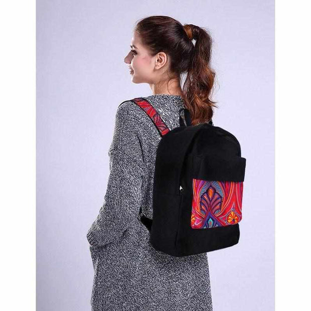 Tahj Embroidered Backpack - Thailand-Bags-Lumily Fair Trade