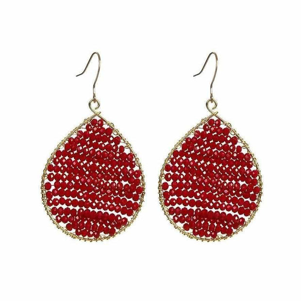 Red Drop Beaded Earrings - Thailand-Jewelry-Lumily Fair Trade