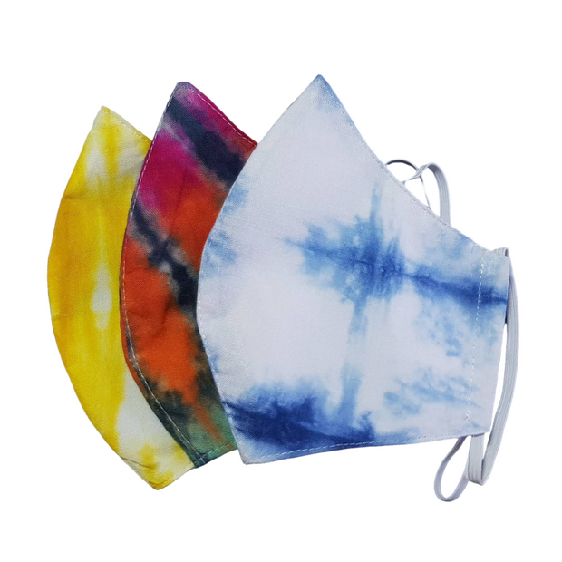 Tie Dye Curved Face Mask with Filter Pocket - Thailand-Apparel-Lumily