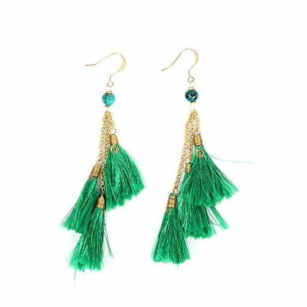 Trio of Tassels Earrings - Thailand-Jewelry-Lumily Fair Trade