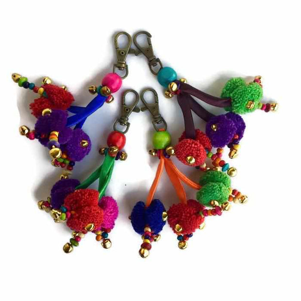 Triple Pom Pom Zipper Pull / Key Chain - Thailand-Shop All-Lumily Fair Trade