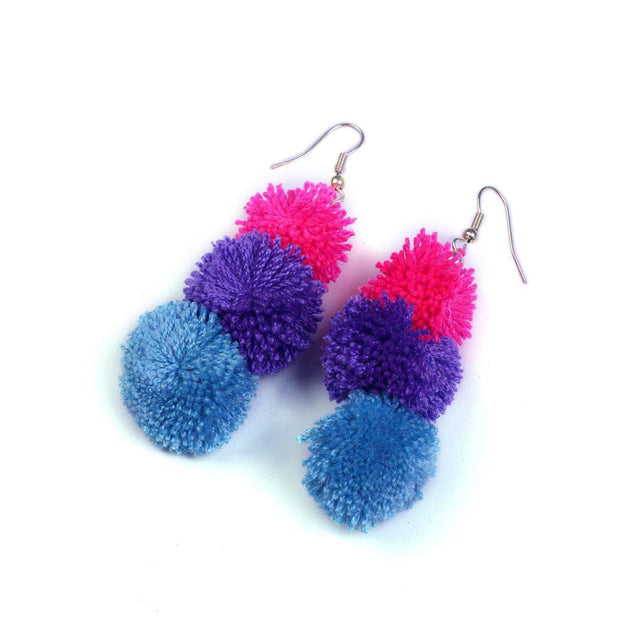 Triple PomPom Earrings - Thailand-Jewelry-Lumily Fair Trade