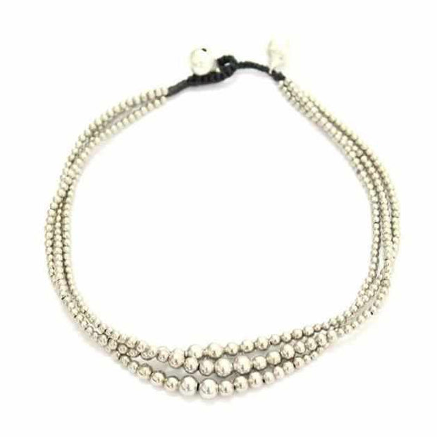 Triple Silver Beads Adjustable Anklet - Thailand-Jewelry-Lumily Fair Trade