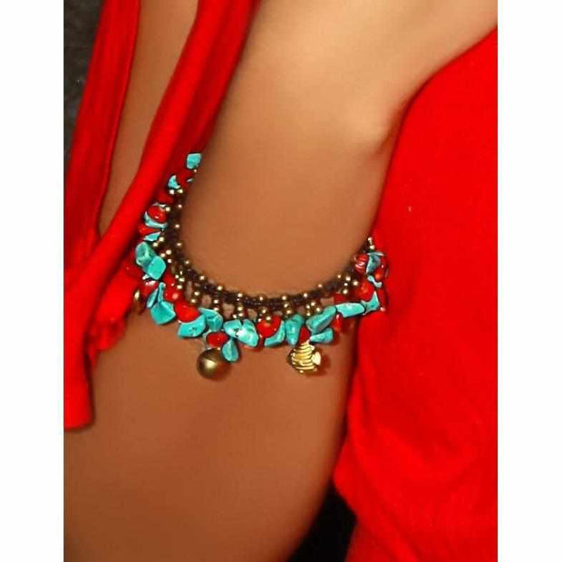 SALE Turquoise and Coral Hmong Bracelet - Thailand