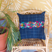 Denim Embroidered Pillow-PIG021-Guatemala