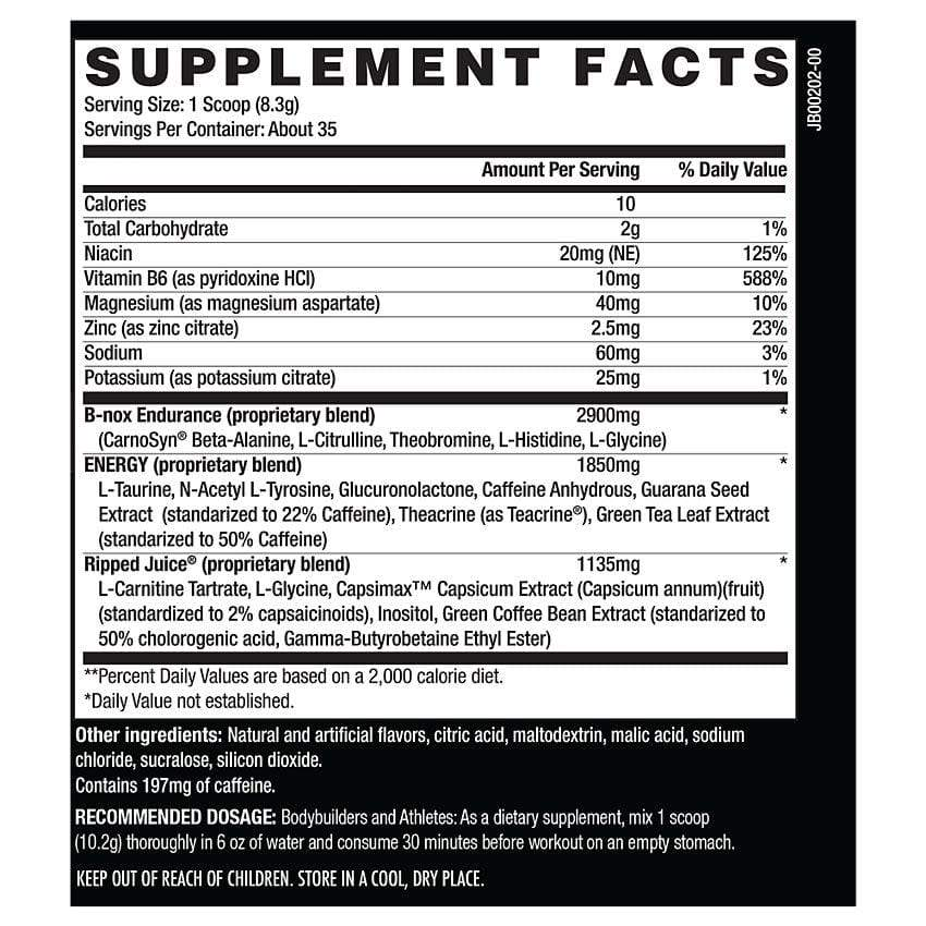 B-NOX Ripped Thermogenic Pre-Workout (35 Servings) - NutraCore Manalapan - Vitamin & Supplement and CBD Store