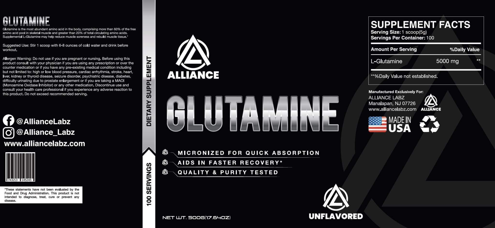Glutamine - NutraCore Manalapan - Vitamin & Supplement and CBD Store