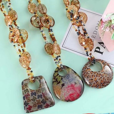 Beaded Beauty Necklaces - An assortment of large Murano glass statement necklaces in a variety of colours and patterns.