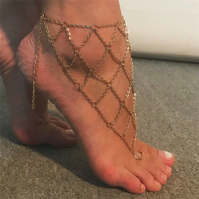 Nanshe's Net Anklet - A sexy fish net themed anklet designed to be worn over the ankle and foot.