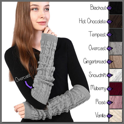 The Snuggle Weather Arm Warmers - A pair of adorable knit over-elbow arm warmers available in nine snuggly winter colours: Blackout (black), Hot Chocolate (dark brown), Tempest (dark grey), Overcast (light grey), Gingerbread (light brown), Snowdrift (white), Mulberry (dark red), Rosé (dusky pink), and Vanilla (cream).