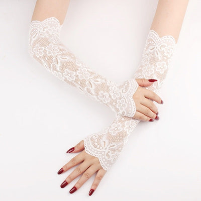 Victorian Lace Sleeves - Beautiful stretchy lace arm warmers, available in black, white, or cream.