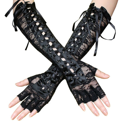 Black Lace Corset Gloves - Sexy over-elbow stretch lace gloves with a corset-style lace running up the back.
