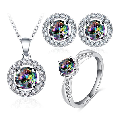 LZESHINE Celestial Elegance Jewellery Set - A lovely classic jewellery set with zircons and rainbow topaz.