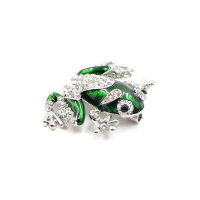 Cute Critters Brooch - Froggie - An adorable green frog with gold or silver accents.