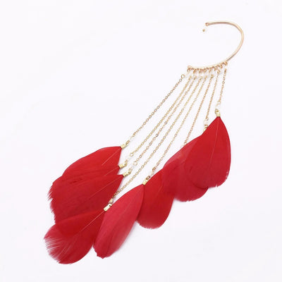 A single large feathered statement earring available in white, black, red, or green.
