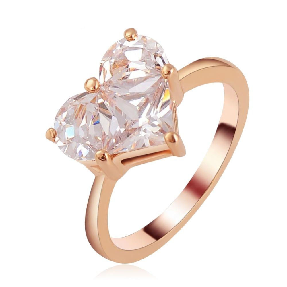 Pure Love Cocktail Ring - A simple rose gold band with a large clear crystal heart.