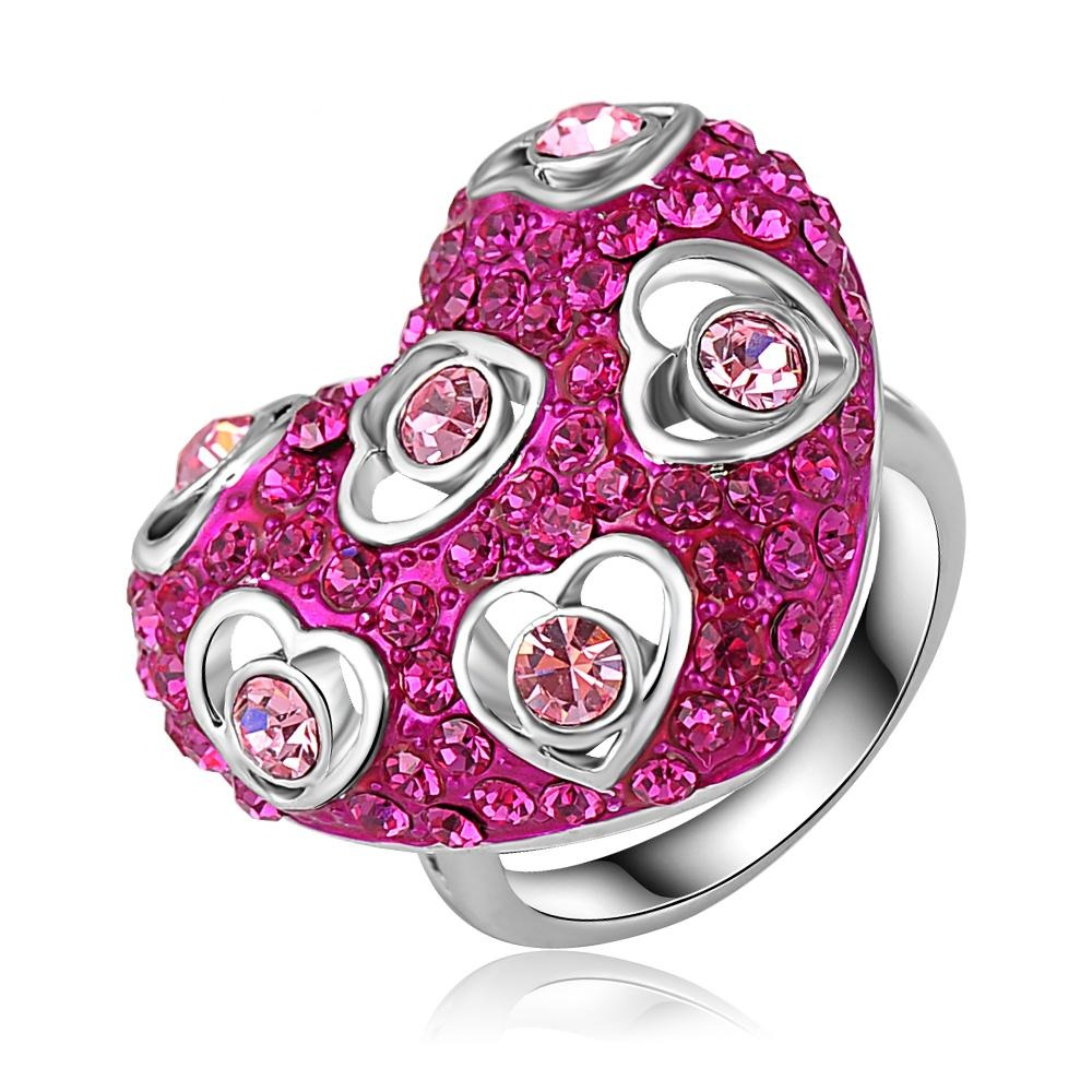 Be Expressive Cocktail Ring - A large pink heart themed statement ring.