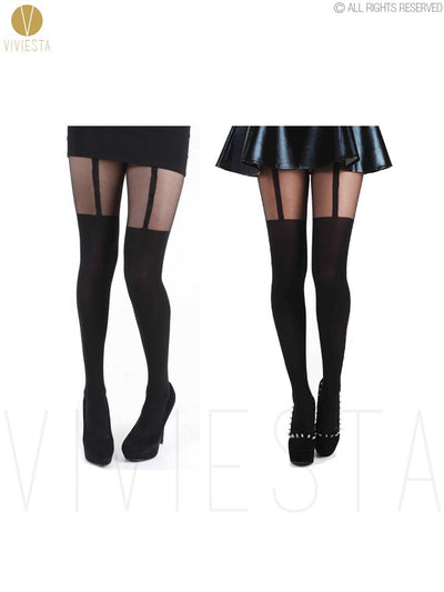 Viviesta Fashion Tights - High Quality High Stretch Mock Thigh Highs With A Cute Suspender Motif