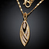The Julienne Necklace - a lovely, unusual leaf-shaped necklace available in gold, rose, or silver.