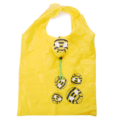 Buzzy Wuzzy Purse Tote - Bright yellow reusable shopping bag that folds down into a cute bumble bee
