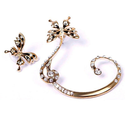 A cute asymmetrical ear cuff set with a butterfly motif.