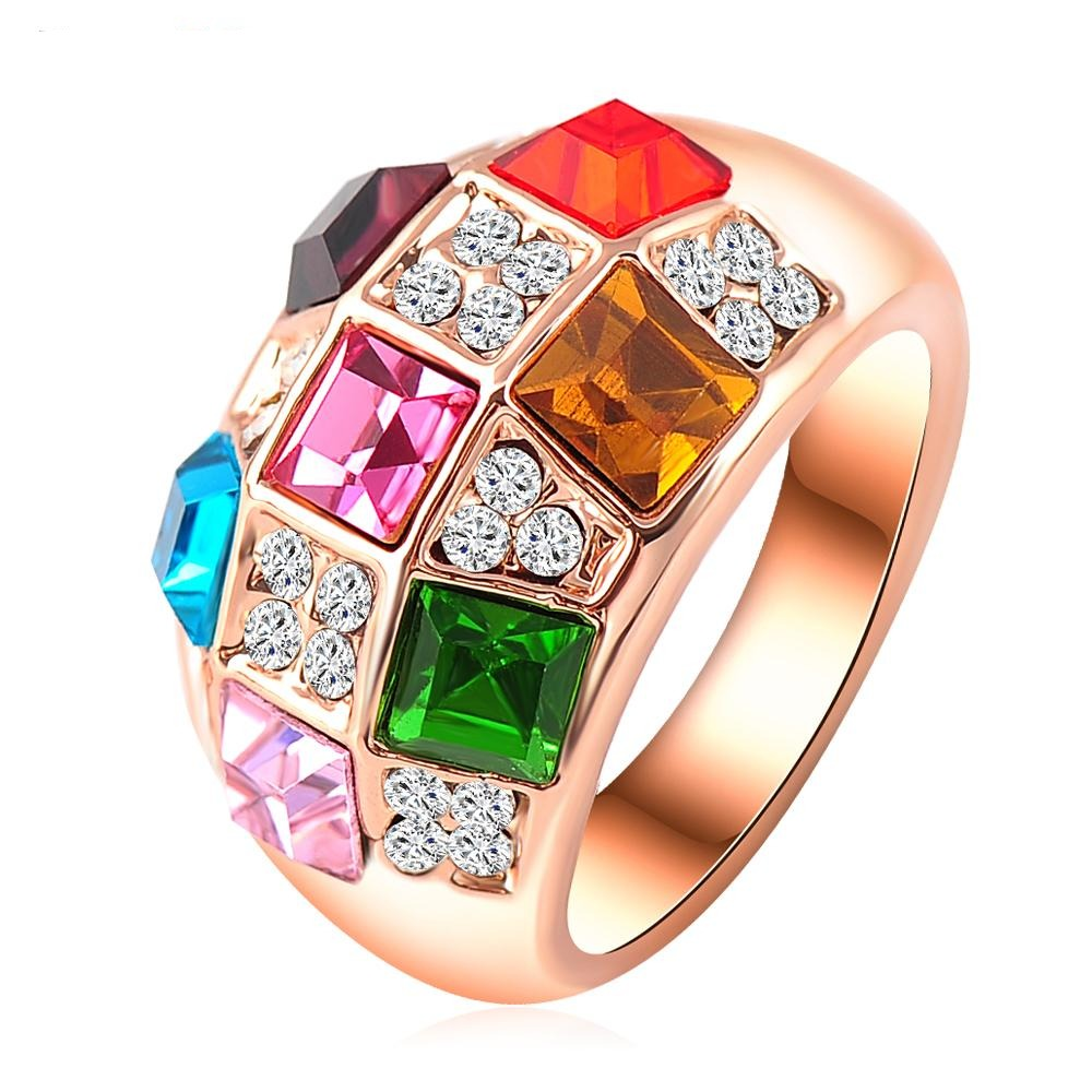 Checkerdazzle Cocktail Ring - A stunning multi-coloured statement ring packed with dazzling colourful stones.