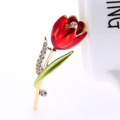 The Florist's Brooch - Tulip (Ruby Enamel) - A beautiful crimson flower pin.