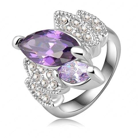 Marquise Cluster Cocktail Ring - A beautiful platinum statement ring with purple crystals.