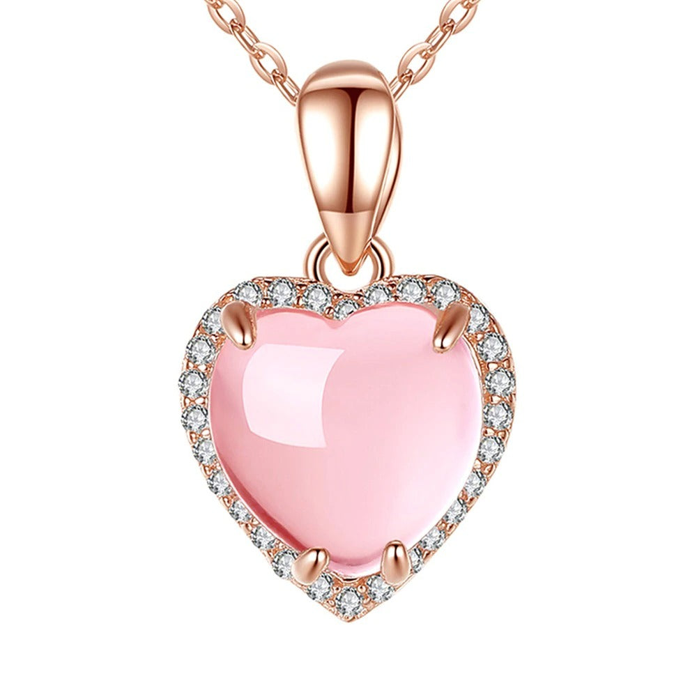The Aphrodite Necklace - A lovely heart-shaped pendant with pink opals and crystals.