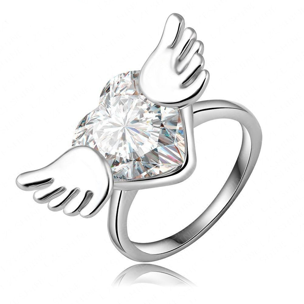 Be Free Cocktail Ring - A large statement ring with a winged crystal heart.