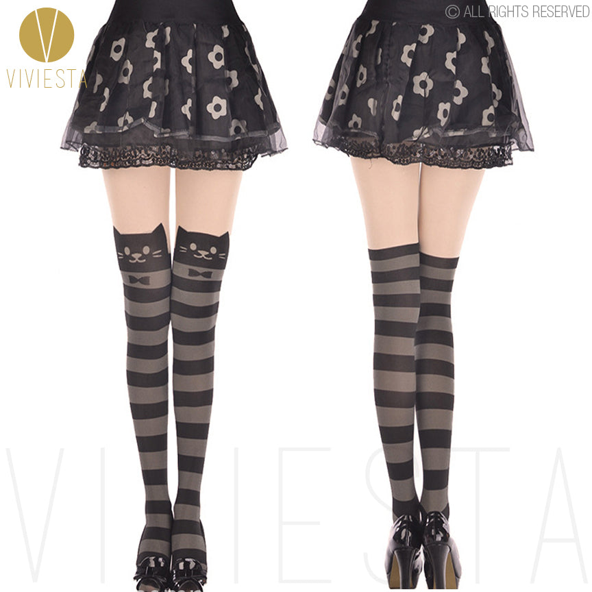 Viviesta Fashion Tights - High Quality High Stretch Mock Thigh Highs With A Cute Striped Kitty Motif
