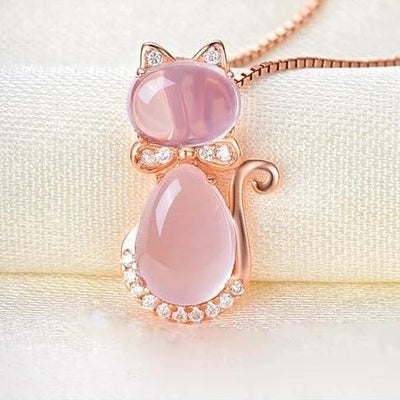 Moonrocy Bastet Necklace - A lovely pink opal pendant studded with crystals, shaped like a cute kitty cat!