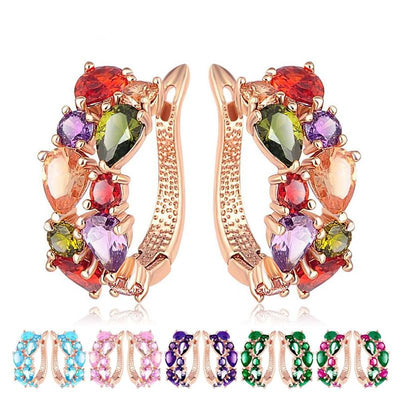 Bijoux Multi-Stone Rectangular Huggies - Lovely latch-back earrings in an assortment of vibrant colours.