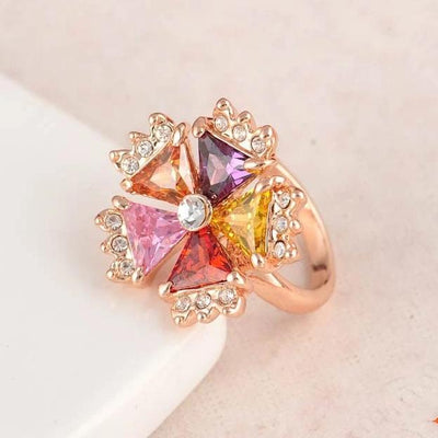 Multi-Stone Blossom Cocktail Ring - A large multi-coloured statement ring.