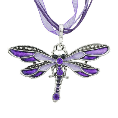 Purple Dragon Necklace - A lovely violet ribbon necklace with a large dragonfly charm.