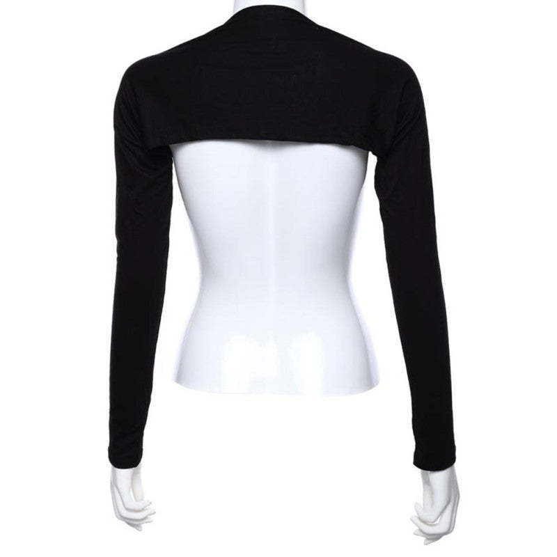 Simple black cotton modal bolero/shrug-style modesty sleeves for the Muslim hijabi woman.