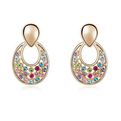 Starburst Drop Earrings - Small gold studs with rainbow coloured stones.