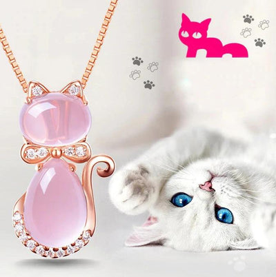 The Bastet Necklace - A lovely pink opal pendant studded with crystals, shaped like a cute kitty cat!
