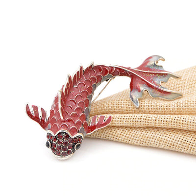 Cute Critters Brooch - An adorable koi fish brooch available in black, green, or red!