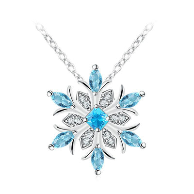 A beautiful snowflake pendant and earrings with blue topaz stones.
