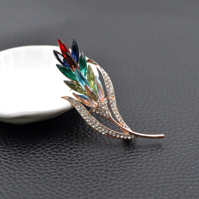 Abstract Brooch - Grain I - A delightful vibrant colourful brooch with rainbow crystals.