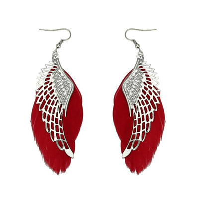 The Angel Feather Earrings - Large feathered earrings available in white, black, red, purple, and teal.